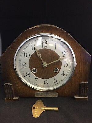 Early Wooden Cased Bentima Mantel Clock -Spare Or Repair #ga