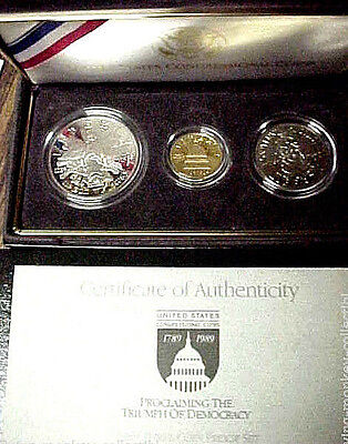 Gem Proof 1989 Congressional Commemorative 3 Coin Set $5 Gold and Silver Dollar
