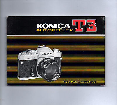 KONICA T3 Autoreflex Instruction Book Operating Guide Camera User Manual Booklet