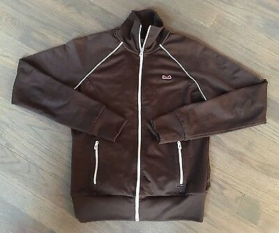 Vtg 70s Le Tigre Brown Zip Front Track Running Warm Up Jacket S/M Unisex 36""