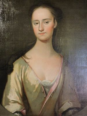 Early 18th Century English Antique Oil on Canvas Portrait Painting of a Lady