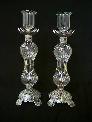 925 Sterling Silver Yemenite Filigree Judiaca Candlesticks