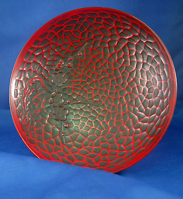 "Vtg Collectible Japanese Lacquer Bowl/Plate Black - Red Cherry Pattern 8"" Dia"