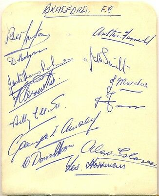 Bradford F.C. signed autograph book page 1940s English football team Park Avenue