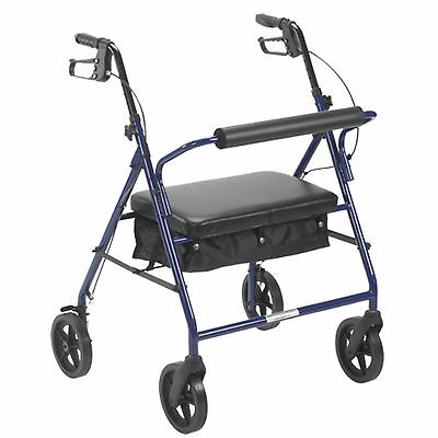 Drive Medical Bariatric Rollator 400lb Folding Walker Adult 4 Wheels 10216BL NEW