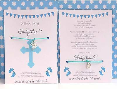 Will you be my GODFATHER Wish / Friendship Bracelet - Christening / Baptism Gift