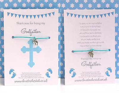 Thank You for being my GODFATHER Wish Bracelet - Christening / Baptism Gift