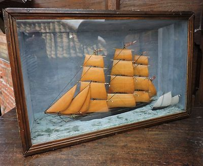 "19thC Nautical Antique Ship Diorama Bearing Flags ""Sydney Tea"" Marine Maritime"