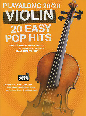 Playalong 20/20 Violin 20 Easy Pop Hits Sheet Music Book with Audio Access