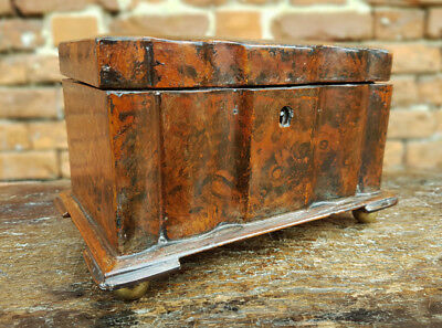 Late 18thC Antique Tea Caddy Constructed From Papier Mache & Faux Tortoiseshell