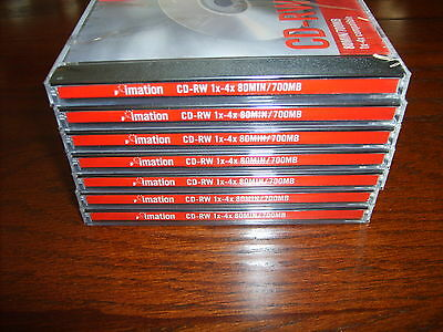 NEW~LOT of 7 IMATION CD-RW  Discs in Jewel Cases 80min/700mb 1-4x~SEALED~NOS