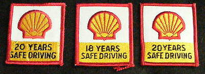 SHELL GAS OIL UNIFORM PATCH LOT 3 UNUSED Safe Driving EMBROIDERED 2 1/2 X 2 1/4