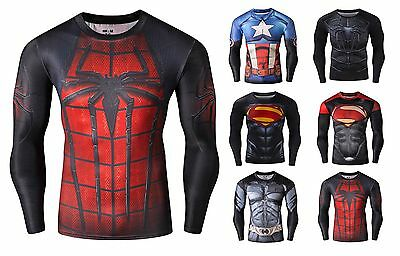 Mens Compression Superhero Top Base Layer Gym Long Sleeve Running Thermal Sweats