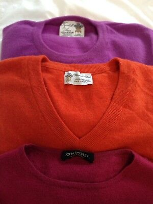Lot of 7 Men's 100% Pure Cashmere Sweaters Small. Turnbull Asser, Smedley Etc