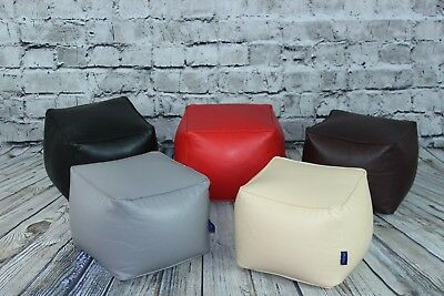 Luxury Faux Leather Small Bean Bag Footstool Cube Fully Filled In Brown & Black