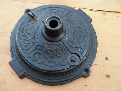 Large Old Ornate Victorian Cast Iron Coffee Grinder Top Salvaged Part, Free S/H