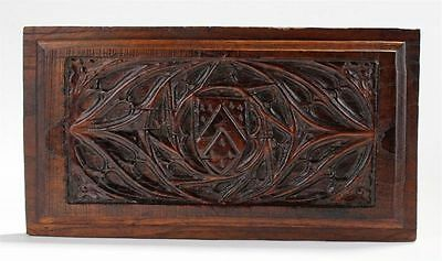16thC English Gothic Antique Oak Carved Wood Panel Coat of Arms of John Tuchet