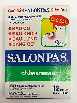 SALONPAS  pack of 12 pain relife patches for  Muscles & Joint  UK Seller