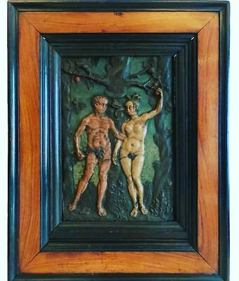 "Rare Early 17thC Antique Adam and Eve ""Cartapesta"" Panel Carved Wood Panel"