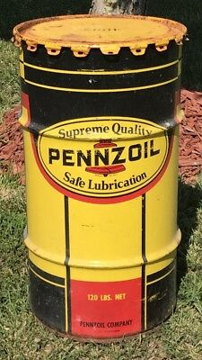 Vintage Pennzoil Safe Lubrication 16 Gallon Oil Drum Advertising Can Barell