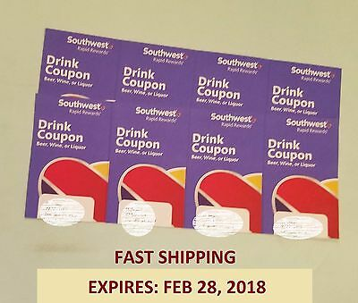 (X8) Southwest Airlines Coupons Drink Voucher Ticket. Exp: 2/28/18. Fast Ship