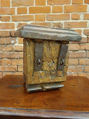 "Mid 17th Century English Antique Oak Alms or Offertory Box Dated ""1663"""