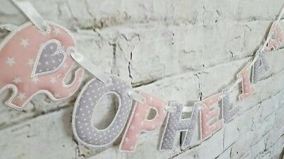 (Sold Per Letter/end Piece) Elephant Star Banner Name Bunting Handmade Baby