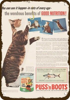 1955 PUSS 'N BOOTS CAT FOOD Vintage Look Replica Metal Sign - CUTE CAT PLAYING