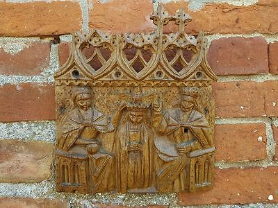 "Late 15thC English Antique Oak Carving Carved Panel ""Coronation of the Virgin"""