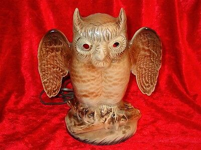 """Vintage Kron Texans Inc. Pottery Owl TV Lamp~Artisan Made~12"""" Tall~Works Great"""