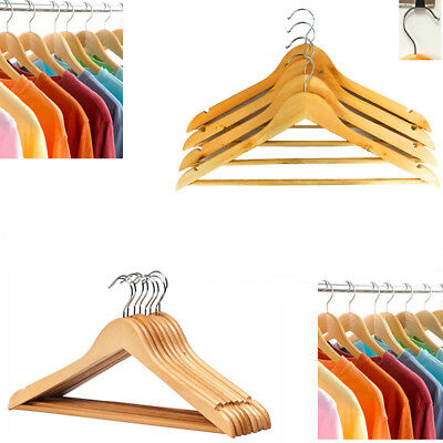 Natural Wood Hangers GOOD QUALITY Polished Finish Metal Hook LARGE Coat Clothes