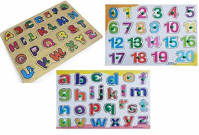 Wooden Alphabet / Numbers Jigsaw Puzzle kids Children Educational Learning Toy