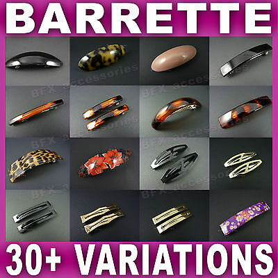 BARRETTE HAIR CLIP grips clips slides OVAL RECTANGLE Black Tort Animal Print NEW