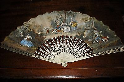 Rare French hand fan by Creusy, Paris