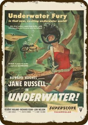 1955 UNDERWATER Movie Release Vintage Look REPLICA METAL SIGN JANE RUSSELL