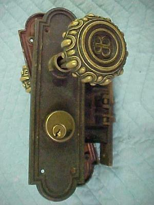 Antique Solid Cast Brass Emblematic Door Knobs with Initials, Back Plates Lock