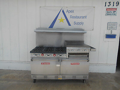 "Vulcan 6 Burner Gas Range w/ Raised 24"" Griddle, Double Oven, Broiler #2411"