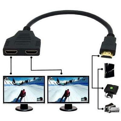 1 to 2 HDMI Splitter Male to Female Split Double Signal Adapter Convertor New UP