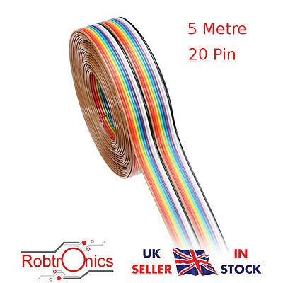 Jumper Cable DuPont Wire Rainbow Flat Wire Support Wire Geekcreit® 5M 1.27mm 20P