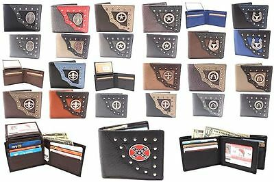 Wholesale Lot of 36 Men's Leather Bifold YL Wallets Western Metal Buckle Cross