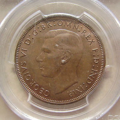 Bronze Penny 1940 Coin King George Vi Uncirculated Grade Pcgs Ms64Bn