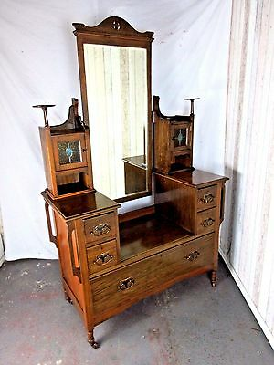 An Antique Solid Oak Arts and Crafts Dressing Chest Table ~Delivery Available~