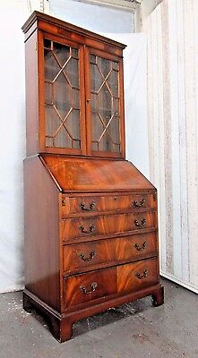 An Antique Style Flame Mahogany Bureau Bookcase ~Delivery Available~