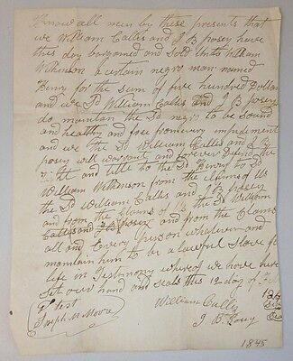 """1845 Slave Bill of Sale ~ """"Sound and Healthy"""" Negro man Henry sold for $500"""