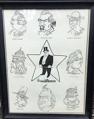 Enrico Caruso 'Original Caricatures of Himself' Framed Poster Met Opera Archives