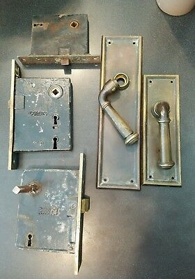 Vintage Brass Russwin & Corbin Commercial Brass Outside Door Lock Set  10 inch