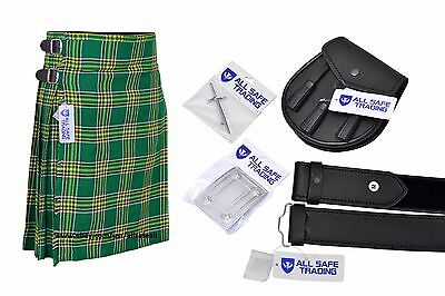 Men Scottish 6 Piece Casual Kilt Outfit Sporran, Irish HeritageTartan Kilt
