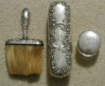 Vintage Gorham Sterling Silver Repousse 3 Pc. Vanity Hand Brush & Powder Jar Set