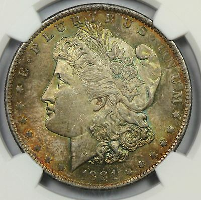 1884-O Morgan Silver Dollar NGC MS63 Stunning Rainbow Colored Toned Gem