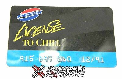 Pepsi Cola License to Chill Card Advertisement Vintage, Dated 1991